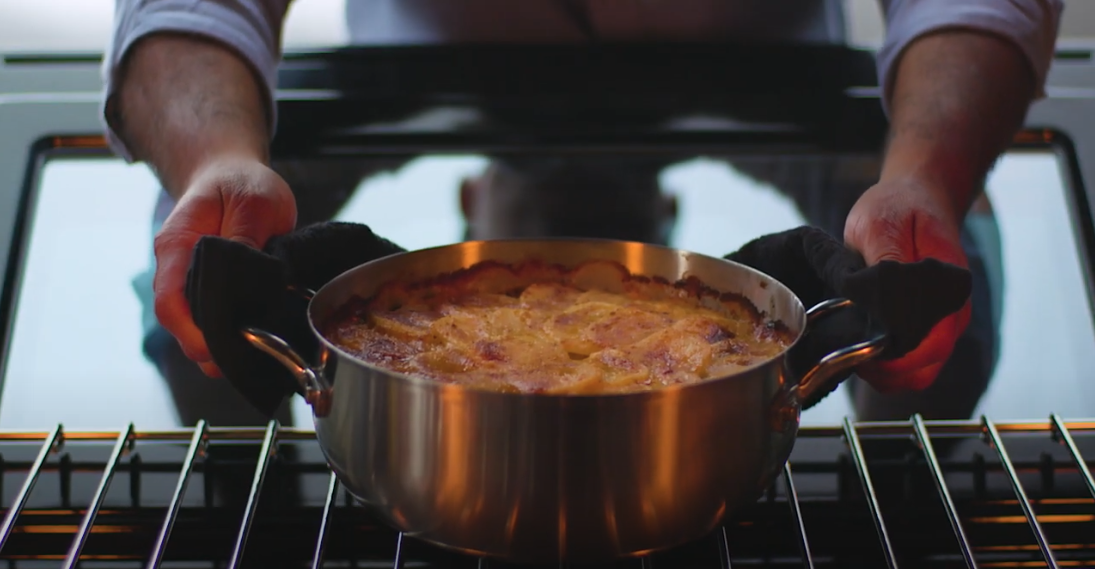 farberware cookware with potatoes in the oven